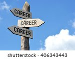 "Small photo of ""Career, career, career"" - wooden signpost, cloudy sky"