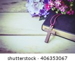 Image Of The Wooden Cross And...