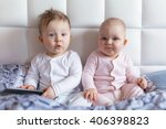 baby boy and girl twins on...   Shutterstock . vector #406398823