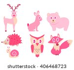 forest animals bear  owl  snail ... | Shutterstock .eps vector #406468723