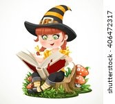 cute little girl witch sitting... | Shutterstock .eps vector #406472317