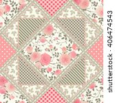 seamless patchwork pattern with ... | Shutterstock .eps vector #406474543
