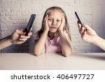 hands of internet and network... | Shutterstock . vector #406497727