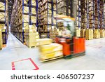 fork lift operator preparing... | Shutterstock . vector #406507237