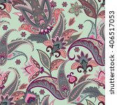 native flowers seamless paisley ... | Shutterstock .eps vector #406517053