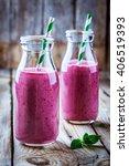 juicy blackberry smoothies in... | Shutterstock . vector #406519393
