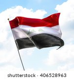 flag of iraq raised up in the... | Shutterstock . vector #406528963