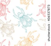 hand drawn colored beetles.... | Shutterstock .eps vector #406537873
