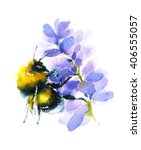 Watercolor Bumblebee Gathering...