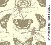butterflies and dragonflies.... | Shutterstock .eps vector #406586017