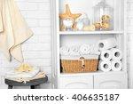 bathroom set with towels ... | Shutterstock . vector #406635187