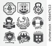 set of monochrome fitness... | Shutterstock .eps vector #406647613