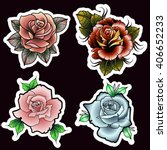 traditional tattoo style roses...   Shutterstock .eps vector #406652233