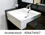 modern square sink in the... | Shutterstock . vector #406676467