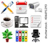 office icons detailed photo... | Shutterstock .eps vector #406691293
