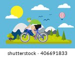 cyclist vector illustration | Shutterstock .eps vector #406691833
