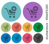 color add to cart flat icon set ...