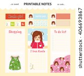 kawaii and cute set vector... | Shutterstock .eps vector #406693867
