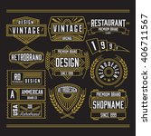 retro vintage logotypes set.... | Shutterstock .eps vector #406711567