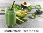 fresh avocado smoothie with... | Shutterstock . vector #406714543