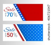 banners with stripes and stars... | Shutterstock .eps vector #406721047