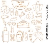 hand drawn travel and vacation... | Shutterstock .eps vector #406723153