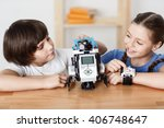 positive children playing with...   Shutterstock . vector #406748647