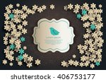 card with flowers and bird.... | Shutterstock .eps vector #406753177