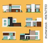 set colorful modern residential ... | Shutterstock .eps vector #406767553
