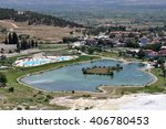 natural travertine pools and... | Shutterstock . vector #406780453