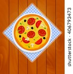 pizza in white plate on kitchen ... | Shutterstock .eps vector #406793473
