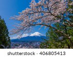 mt.fuji and cherry tree | Shutterstock . vector #406805413