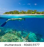 young woman swimming over coral ...   Shutterstock . vector #406815577