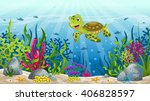 illustration of underwater... | Shutterstock .eps vector #406828597