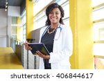 portrait of a female doctor... | Shutterstock . vector #406844617