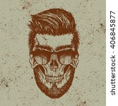 hipster skull of human with...   Shutterstock .eps vector #406845877