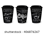 black coffee cup covered with... | Shutterstock .eps vector #406876267