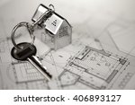 key with keychain in the form... | Shutterstock . vector #406893127