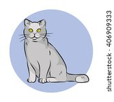 gray cat illustration | Shutterstock . vector #406909333