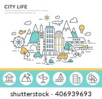city life concept illustration  ... | Shutterstock .eps vector #406939693