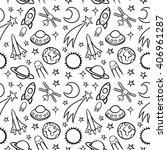 Cartoon Doodle Space Seamless...