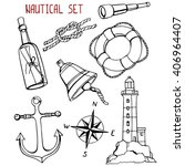 Nautical set: Bell, knot, message in a bottle, lighthouse, compass rose, anchor, telescope, lifebuoy. Hand-drawn design elements.