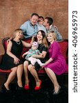 three generation family sitting ... | Shutterstock . vector #406965973