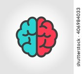 vector flat color line brain... | Shutterstock .eps vector #406984033