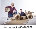 mother and son playing with a... | Shutterstock . vector #406986877