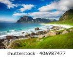 beautiful view to eggum beach... | Shutterstock . vector #406987477