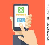rate our app flat concept. hand ...   Shutterstock .eps vector #407006113
