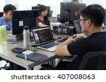 asian outsource developer team... | Shutterstock . vector #407008063