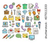 set of universal doodle icons.... | Shutterstock .eps vector #407011333