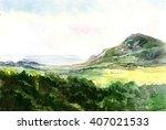 Watercolor Landscape. Mountain...